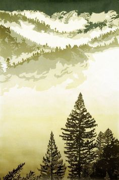 Relief Print Edition size of 15 This hand-pulled print is a six color reduction print, printed without borders on Japanese Kitakata paper. Forest Sunset, Scratchboard Art, Tree Artwork, Tree Paintings, Linoprint, Linocut Prints, Woodcut Art, Illustrations, Wood Engraving