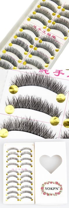 [Visit to Buy] YOKPN 10 pairs Synthetic Hair Cotton Thread Fake Eyelashes Winged Handmade False Eyelashes Soft Thick Curly Lashes Makeup Tools #Advertisement