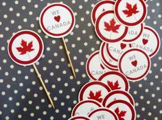 canada day cupcake toppers. please feel free to use her graphics.