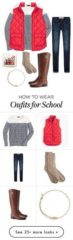"""Not ready for school ugh"" by steppintoprep on Polyvore featuring J.Crew, Abercrombie & Fitch, Tory Burch, Alex and Ani and Bamford"