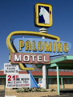 Palomino Motel, Route 66 - Tucumcari, New Mexico Old Route 66, Historic Route 66, Vintage Hotels, Vintage Travel, Vintage Ads, Andalusian Horse, Friesian Horse, Arabian Horses, Vintage Neon Signs