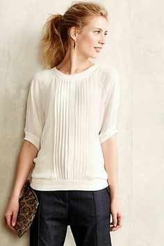 'Macon' white pintucked pullover blouse