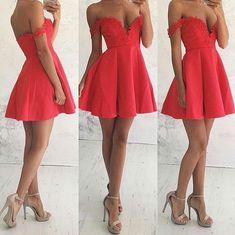 Off Shoulder Homecoming Dress,Sexy Deep V-neckline Homecoming Dress,Watermelon Party Dress,Sexy Off Shoulder Formal Dress