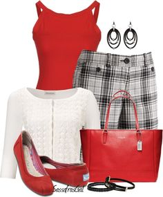 """Plaid Bermudas"" by sassafrasgal on Polyvore"
