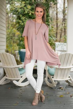 It's totally true that we love this top! It's also totally true that we know you will too! It's too soft and flattering not to love! Plus, we can't get over the unique stitching!  Material has a generous amount of stretch. Mary Peyton is wearing the small.