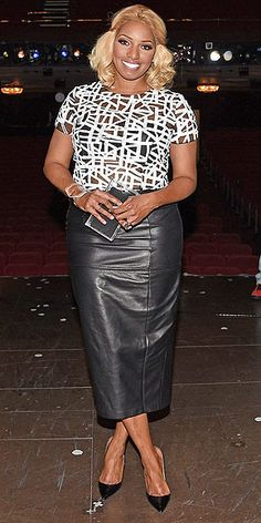 Last Night's Look: Love It or Leave It? | NENE LEAKES | Nene anchors a graphic black and white short-sleeve top with a leather mid-length skirt and pointy pumps at the Rodgers and Hammerstein's Broadway Curtain Call event in N.Y.C.