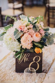 wooden table number - photo by Dave Richards Photography / http://www.himisspuff.com/wedding-table-numbers-centerpieces/5/