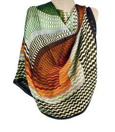 Missoni Silk Scarf Color Block Zig Zag Pattern by zephyrvintage