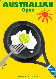 Australian Open- tennis time, the first major- Paul Thurlby Illustration / Illustration