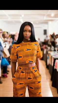 Orange Ankara Crop top and high waisted pants African Inspired Fashion, African Print Fashion, African Fashion Dresses, African Attire, African Wear, African Dress, Africa Fashion, African Style, Ankara Crop Top