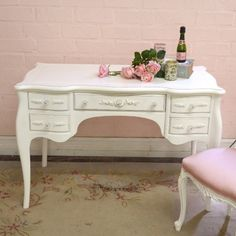 Lovely 5 Drawer Writing Desk in White with Roses $715.50 #thebellacottage #shabbychic #SALE #OOAK