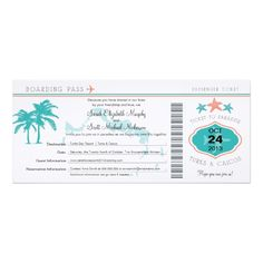 Turks & Caicos Save the Date Boarding Pass Card