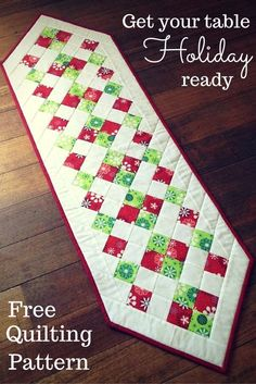 Ideas For Patchwork Table Runner Tutorial Place Mats Patchwork Table Runner, Table Runner And Placemats, Quilted Table Runners, Quilted Table Runner Patterns, Striped Table Runner, Burlap Table Runners, Christmas Runner, Simple Christmas, Christmas Crafts