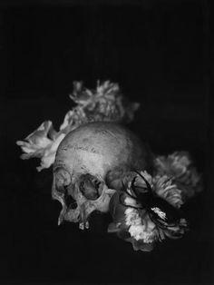 dark | darker | darkest | skull | black | flowers | art | love | hardness | cool | photograph | black & white