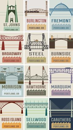 My home!!!!Portland is sometimes called Bridge City. Here's why! (My favorite: St Johns.)