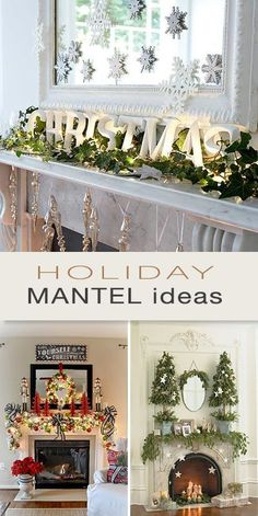 Holiday Mantel Ideas • Lots of fabulous projects and ideas! (Diy Christmas Fireplace)
