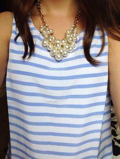 Light blue + pearls.