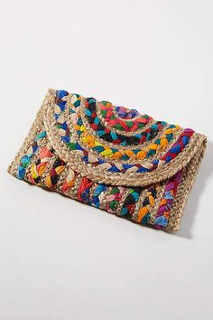 Anthropologie Fiesta Woven Envelope Clutch