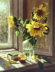 Sunflowers, Dmitri Annenkov- still life, hyperrealism, photorealism, apple… Art Floral, Sunflower Art, Still Life Art, Photorealism, Fine Art, Oeuvre D'art, Painting Inspiration, Painting & Drawing, Beautiful Flowers