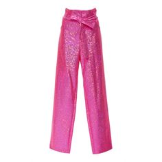 POETIC AND DIRTY Disco Paperbag Pant ($495) ❤ liked on Polyvore featuring pants, pink, disco pants, paperbag trousers, high waisted paperbag pants, high-waisted disco pants and pink disco pants