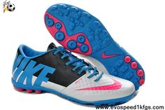 Discount Nike FC247 Elastico Finale II TF Total White Blue Pink Soccer Boots On Sale