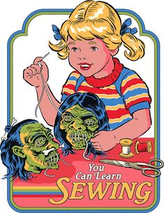 'You Can Learn Sewing' Sticker by Steven Rhodes Vintage Cartoon, Cartoon Art, Photo Wall Collage, Collage Art, Scary Art, Skateboard Art, Retro Aesthetic, Retro Art, Horror Art