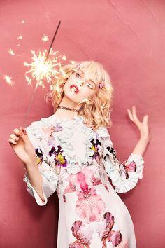 Ola Rudnicka in Francesco Scognamiglio photographed by Ellen von Unwerth for Numero Tokyo, April 2016. http://hubz.info/fashion