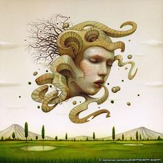 """Naoto Hattori: Of his work, he says : """"My vision is like a dream, whether it's a sweet dream, a nightmare, or just a trippy dream. I try to see what's really going on in my mind, and that's a practice to increase my awareness in stream-of-consciousness creativity. I try not to label or think about what is supposed to be, just take it in as it i and paint whatever I see in my mind with no compromise. That way, I create mu own vision."""""""