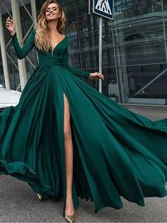 Dark Green Dresses,Split Prom Dresses, Long Sleeve Prom Dresses,Cheap Prom Dresses,Plus Size Prom Dresses,Prom Dresses Cheap, Prom Dresses 2018,long Prom Dresses, #eveningdresses #eveninggowns #formaleveningdresses #promdresses #ballgowns