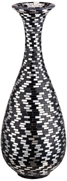 A sophisticated design makes this mosaic bubble vase an ideal accent for most any style of home. Black and white bubble vase. Style # at Lamps Plus. Mosaic Planters, Mosaic Vase, Mosaic Flower Pots, Mirror Mosaic, Mosaic Garden, Ceramic Vase, Black And White Vase, White Art, Vases