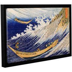 ArtWall Katsushika Hokusai Ocean Waves Gallery-Wrapped Floater-Framed Canvas, Size: 16 x 24, White