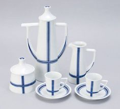 Sargadelos Porcelain Magdalena Coffee Set for 6  from Spain - NEW