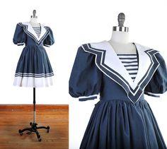 Vintage 1980s SAILOR PUFF Sleeve Nautical Navy Blue by NovaVintage, $58.00