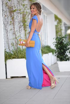 blue and pink long dress Lovely Dresses, Trendy Dresses, Casual Dresses, Summer Dresses, Formal Dresses, Gala Dresses, Dress Outfits, Mom Dress, Dress Up