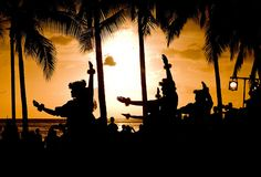 Hula Dancers at sunset on Waikiki beach