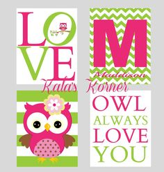 OWL NURSERY ART  Girl's Nursery Art  owl print owl by KalasKorner