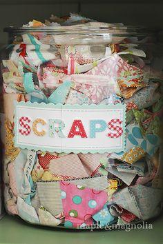 Love This Jar of fabric scraps Storage ! (Plus 24 More Craft Storage Ideas )