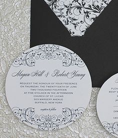Black White Round Invitation