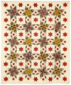 MultiStar/ Ship's Wheel, Touching Stars & 6-Pointed Stars     Date: 1850c     Project Name: NEQM Permanent Collection (MassQuilts Documentation)     Contributor: New England Quilt Museum