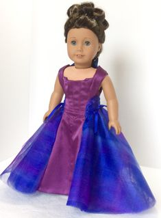 Purple Chiffon Sleeveless Gown Dress fits 18 inch American Girl Doll Clothes