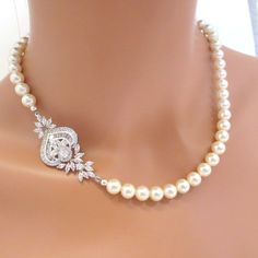 Bridal pearl necklace, Crystal bridal necklace, Rhinestone wedding necklace, Bridal jewelry, Vintage inspired necklace