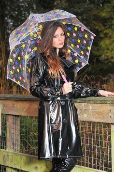 Black pvc Rain Coat zz