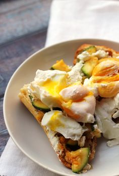 Zucchini and Goat Cheese Breakfast Crostini - Joanne Eats Well With Others