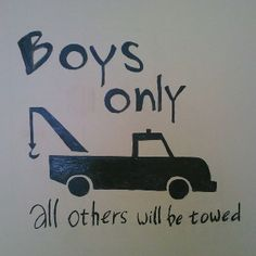 "For Atley - he was bummed when Ari read the sign the girls found for their room - ""Girls Rule, Boys Drool"""