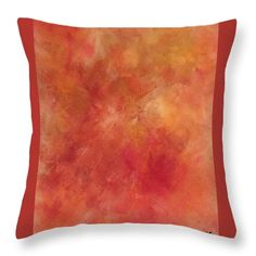 Rosewood: A bright and vibrant abstract painting using red, yellow and bronze acrylic paints by Kelly Goss Art printed on to throw pillows in 100% polyester or 100% cotton fabric. Perfect to brighten up and decorate your home lounge suite or bedroom. The special gift to spice up a friend's home decor, especially if they love modern and abstract art.