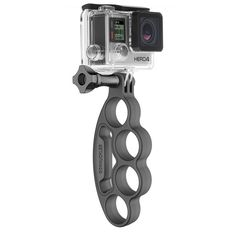 """The patented, rubberized plastic design interlocks with your fingers, providing a secure, """"hands-free"""" handheld mount that's perfect for snorkeling, cliff jumping, tubing, skydiving, skating and just about any other action sport."""