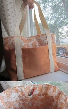 Easy Tote Bag- tutorial from Poppyseed Fabrics (poppyseedfabrics. Super Easy Tote Bag- tutorial from Poppyseed Fabrics (poppyseedfabrics.Super Easy Tote Bag- tutorial from Poppyseed Fabrics (poppyseedfabrics. Patchwork Bags, Quilted Bag, Sacs Tote Bags, Diy Tote Bag, Fabric Bags, Fabric Basket, Sewing Projects For Beginners, Handmade Bags, Handmade Items