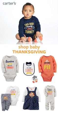 Shop baby boy and baby girl Thanksgiving outfits. Pick from bodysuits, sets, bibs + more! Gobble 'em up!