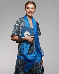 "Шелковый шарф «Волга» Silk scarf ""Volga"" Silk Scarves, Russia, Kimono Top, Sari, Tops, Women, Fashion, Saree, Moda"
