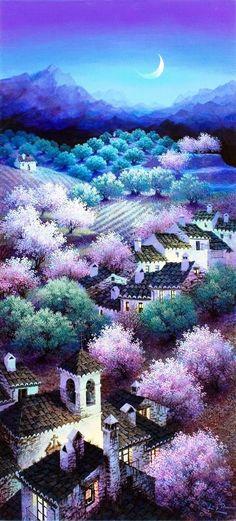 "Photo from album ""Луис Ромеро (Luis Romero)"" on Yandex. Spanish Painters, Spanish Artists, Unique Paintings, Colorful Paintings, Dalai Lama, Purple Trees, Fantastic Art, Awesome Art, Amazing Nature"